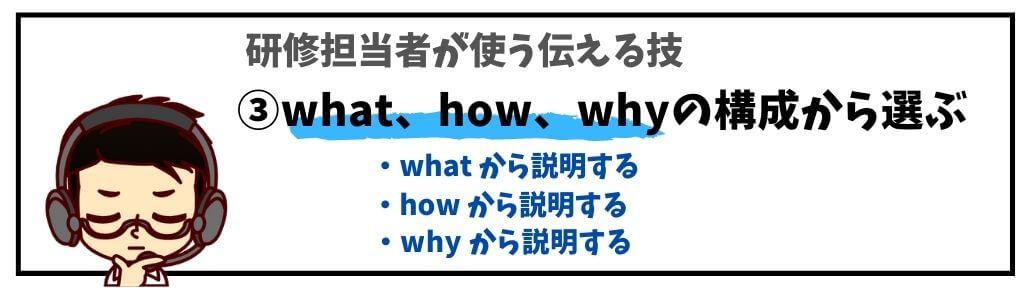 ③what、how、whyの構成から選ぶ